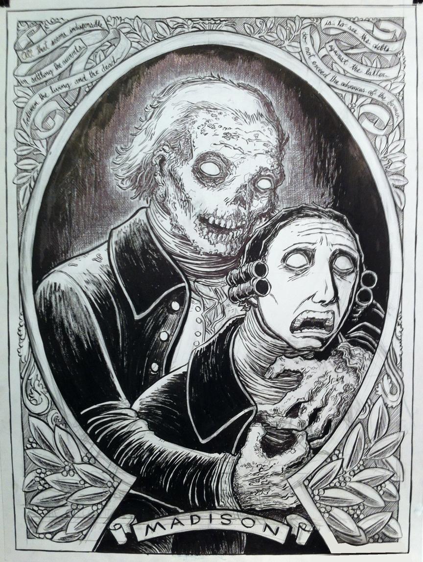 Non-Lovecraft Sketch MWF: Zombie James Madison